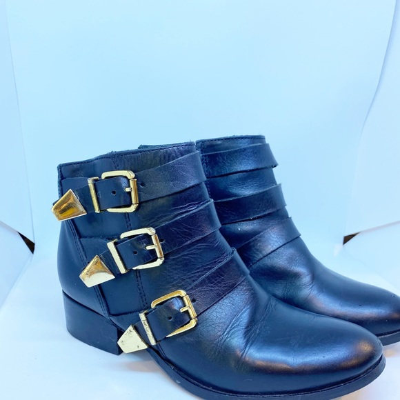 Milano Boot Black Leather Bootie with Gold Buckle